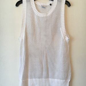 White Mesh Sweater Tank